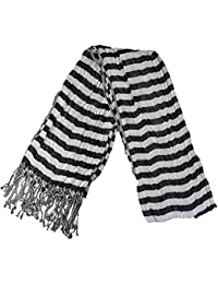 Mens Scarf With Check & Strip Design On Either Side, With Tassles 210cms x 45cm, White