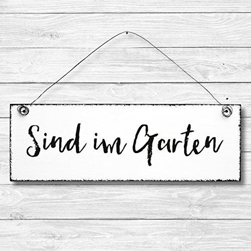 Sind Im Garten   Dekoschild Türschild Wandschild Aus Holz 10x30cm    Holzdeko Holzbild Deko Schild Zu
