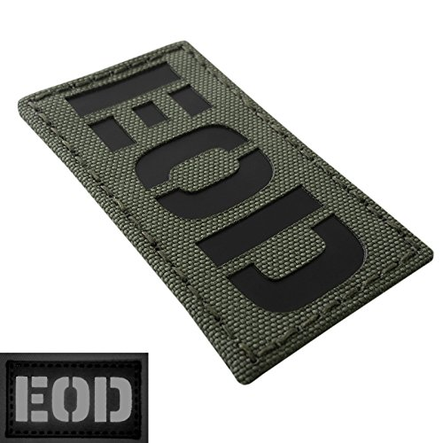 Olive Drab OD Green Infrared EOD Explosive Ordnance Disposal Bomb Squad 3.5x2 Tactical Morale Hook-and-Loop Patch -