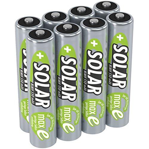ANSMANN Akku AAA Micro 550mAh 1,2V NiMH für Solarlampen 8 Stück - Wiederaufladbare Batterien mit geringer Selbstentladung maxE - Solar Akkus ideal für Solarleuchten im Garten - Rechargeable Battery