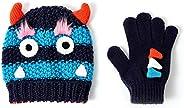 accsa Conjunto de gorro y guante de invierno para niños pequeños, diseño de monstruo de dinosaurio de cocodril
