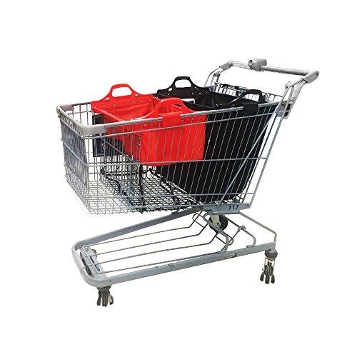 VAIIGO Wiederverwendbare Einkaufswagentasche, Faltbare Einkaufstaschen, Einkaufstasche passend für Alle gängigen Einkaufswagen Falt Tasche (Rot/Schwarz)