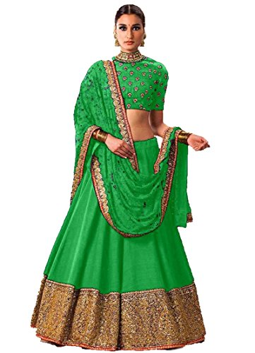 Ustaad women's Beautiful green Color Banglori Silk Lehenga with unstitched Blouse