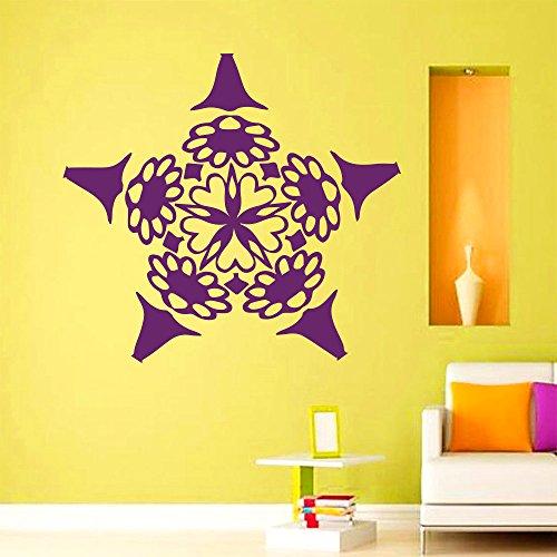 jiuyaomai Mandala Blume Wandtattoo Yoga Studio Vinyl Wandaufkleber Om Indischen Zeichen Innendekoration Abnehmbare Kunstwand DIY Wohnkultur 57x51 cm