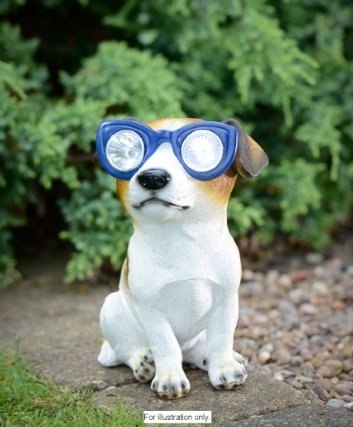 Hund Ornament mit Solar Light Up Sonnenbrille.
