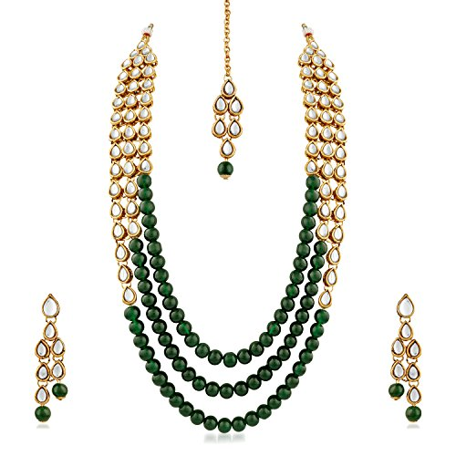 Rich Lady Gold Finish Kundan & Glass Pearl 3 Layer necklace Set with Maang Tikaa