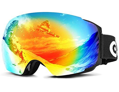 ODOLAND Lunettes de ski interchangeables magnétiques, lunettes de neige sphériques pour hommes et femmes, protection OTG et UV400