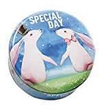 Koala Superstore 2 Pack Hochzeitstorte Kekse Runde Candy Tin Boxes, Zwei Kaninchen Muster