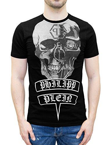 """Philipp plein maglietta nera modello """"utako hotfix"""" - t-shirt stampa teschio e cristalli (s)"""