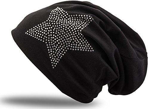 Jersey Baumwolle elastisches Long Slouch Beanie Unisex Herren Damen mit Strass Stern Steinen Mütze Heather in 35 verschiedenen Farben (2) (Black)
