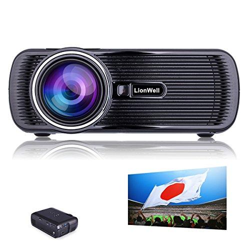LionWell ミニ LED プロジェクター 投影機 日本語説明書 1200ルーメン 800*480解像度1080P パソコン・スマホ・タブレット・USB・SDカード入力可能 無料HDMIケーブル ホームシアター・シネマ 『重要:LionWell正規商品の販売はLionWell出品者のみ』