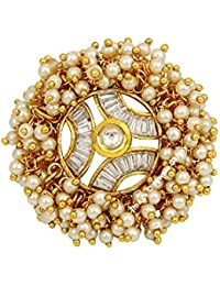 Jewels Galaxy Gold Plated Bridal Pearl Beads Kundan Free Size Ring