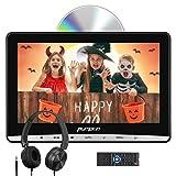 Pumpkin Lettore dvd auto poggiatesta con supporto e cuffie, schermo da 12 pollici, supporto Regione free/USB/SD/AV-in/AV-out/cavo AUX, 18 mesi di garanzia