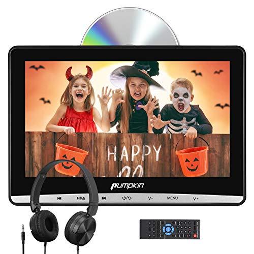 Pumpkin Lettore dvd auto poggiatesta con supporto e cuffie, schermo da 12 pollici, supporto Regione free/USB/SD/AV-in/AV-out/cavo AUX, 18 mesi di garanz