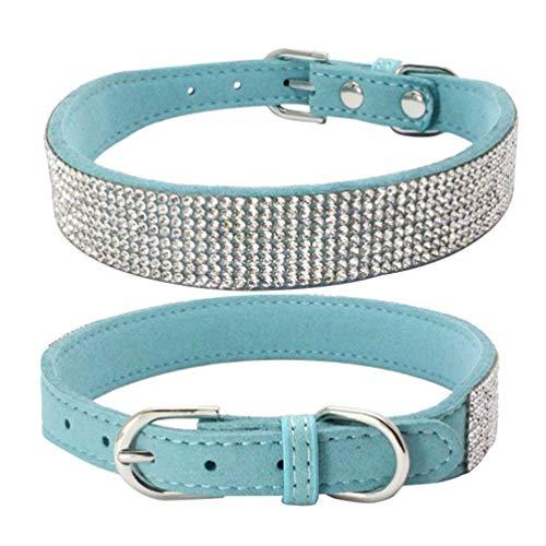 YK.Hapyshop Winkey Pet Dog Collar, Dog Collar Sparkly Rhinestone Studded Small Medium Dog Adjustable Collar Dogs Adjustable Collars Classic Design, Completely Unique,Light Blue,XS -