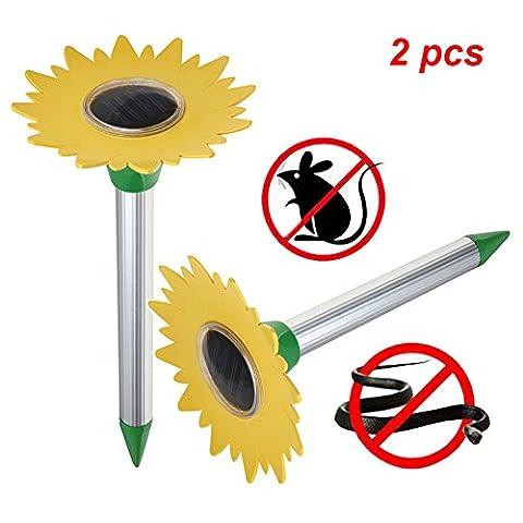 FUSKANG 2 pcs Solar Mole Repeller, tournesol à ultrasons Electronic Drive Away Mole Rat Deterrent Mouse Snake Insect Repel Equipment pour jardin extérieur, zone efficace d'environ 800 mètres carrés