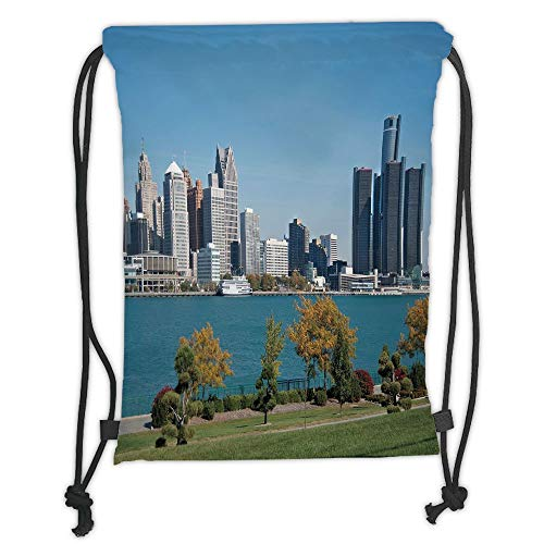 Drawstring Backpacks Bags,Detroit Decor,Industrial City Center Shoreline River Scenic Panoramic View Sunny Day Decorative,Blue Green Silver Soft Satin,5 Liter Capacity,Adjustable S - Green Roof Center