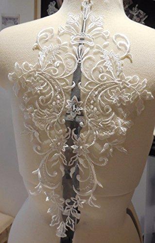 Eine große Stück ivory floral Spitze Applikation/Brautschmuck Hochzeit Elfenbeinfarben Bolero Spitze Motiv Pro Stück UK Verkäufer