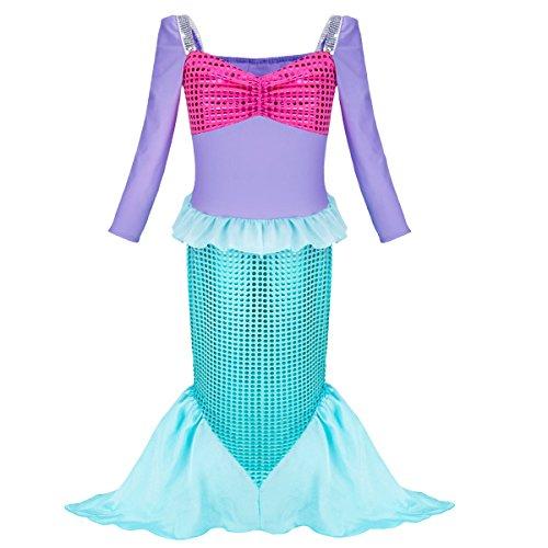 YiZYiF Mädchen Pailletten kleine Meerjungfrau Kleid Prinzessin Kleid Karneval Partykleid Festzug 98-152 Violett & Grün 122-128