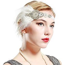 BABEYOND Años 20 Flapper Diadema de Plumas Negras Diadema Gatsby Vintage Cinta para el Pelo con Cuentas de Cristal Accesorios Vintage Disfraz Gran Gatsby Fiesta Temática Prom (Blanco)