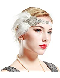 BABEYOND 1920s Flapper Gatsby Headpiece Black Feather Headband Vintage Beaded Headband Crystal Hair Accessories with Pearls