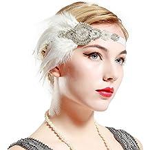 4c540e4c0ea79 BABEYOND Años 20 Flapper Diadema de Plumas Diadema Gatsby Vintage Cinta  para el Pelo con Cuentas