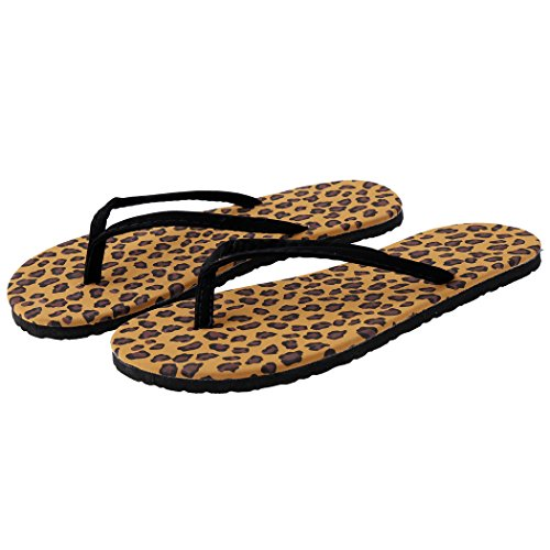 Befied Tongs Cuir Velours Plage Classique Sandales léopard