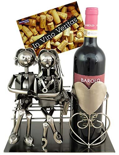 BRUBAKER Wein Geschenkset - Flaschenhalter Liebespaar auf Bank inkl. Einem Wein Ihrer Wahl mit Geschenkkarte