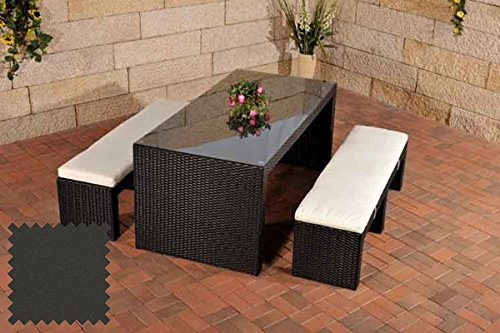 CLP Polyrattan-Gartenbar CORUNA | Komplett-Set: 2X Sitzbank und 1x Bartisch | Garten-Set inkl. Sitzpolster erhältlich Rattanfarbe: schwarz, Bezugsfarbe: Anthrazit