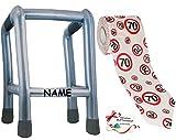 Unbekannt 2 TLG. Set: __ Gehhilfe - ( Aufblasbar ) incl. Name + Toilettenpapier Rolle -  70. Geburtstag / siebzig und Sexy - Happy Birthday  - lustiger Partyartikel -..