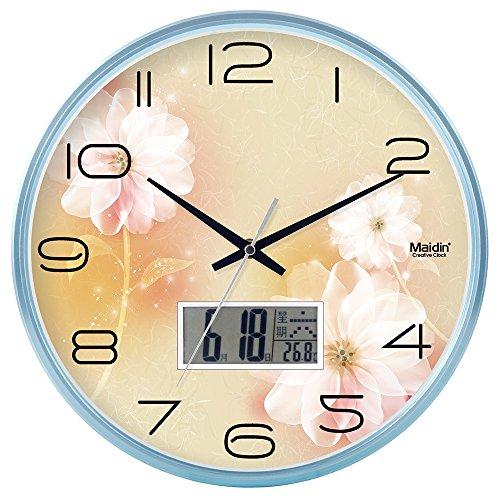 Komo classico ed elegante il quarzo orologio da parete grande silenzioso sweepso sweep soggiorno tavolo a muro orologio al quarzo orologio da parete camera da letto rotondo, 10 pollici, schermo piatto, blu