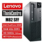 PC Lenovo ThinkCentre M82 SFF - Intel DC G640, RAM 4Gb, HDD 500Gb 7200rpm, DVDRW, Windows 7 Pro + Windows 10 Pro UpGrade (Ricondizionato Certificato)
