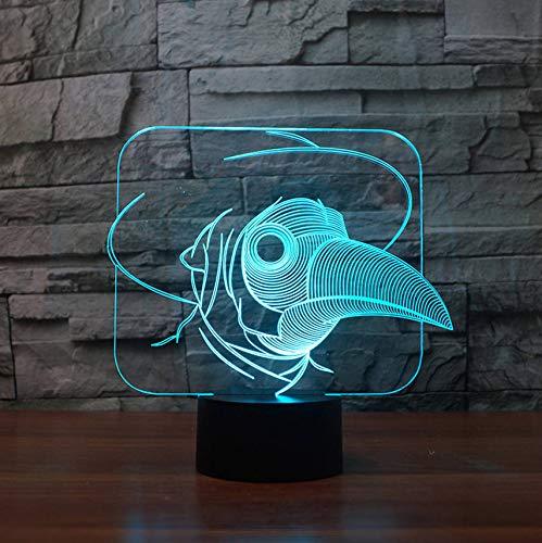 Led 3D Kreative Vision Cartoon Vogel Schnabel Menschen Modellierung Nachttischlampe Nachtlicht Dekoration Usb Schreibtisch Tischlampe Brief Für Kinder Geschenk (Halloween-farbe Per Brief)
