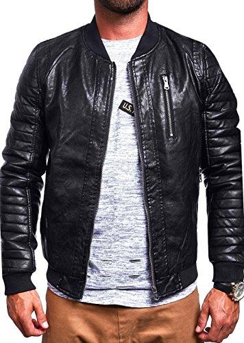MT Styles PU Bomberjacke Jacke M-1027 Schwarz