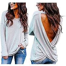 Morwind Blusas Cuello Halter, Camisetas Mujer Originales Jersey con Cuello de Pico de Punto Fino