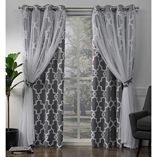 Exclusive home alegra layered geometrico oscurante e coppia sheer finestra tenda a pannello con occhielli, poliestere, antracite, 96x 52x 0.2cm
