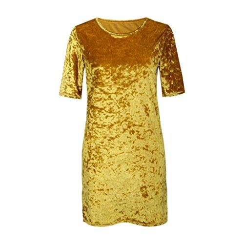 Femme Robes Velours, Tonwalk Femme Robes Vintage Jaune