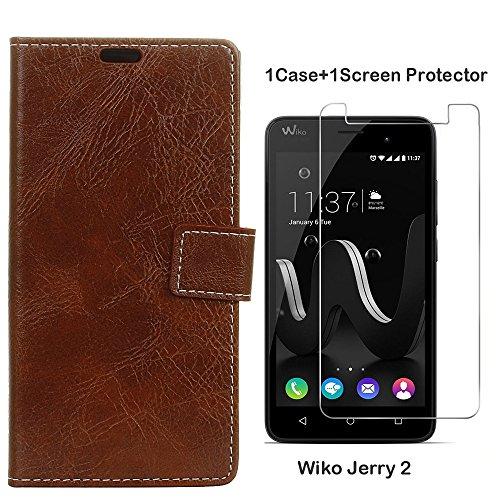Wiko Jerry 2 Funda Protector de Pantalla de Cristal Faux Cuero Billetera Funda para Wiko Jerry 2 con Stand Funci  n Marr  n