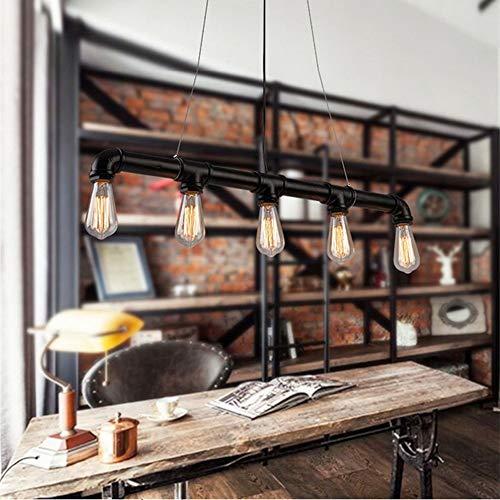 Glighone Wasserrohr Rohr Lampe Vintage Pendelleuchte Schwarz Hängelampe 5 Lichter E27 Sockel Kupfer-Finish -