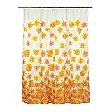 Smartfox Duschvorhang orange Blumen, 120x200 cm, 12 Ösen inkl. 12 Kunststoffringen