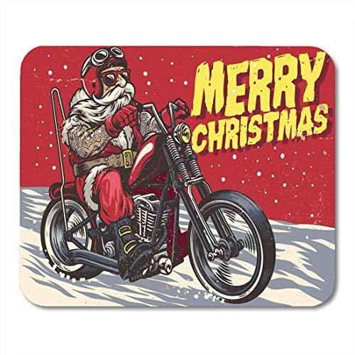 Kostüm Für Senioren - Luancrop Mauspad Senior Biker Wear Weihnachtsmann-Kostüm und Reitchopper Mousepad für Notebooks, Desktop-Computer Mauspads, Bürobedarf