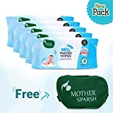 #9: Mother Sparsh Baby Water Wipes (Pack of 5, 80 Wipes + 1 Baby Kit Pouch) - Plant Based Fabric, 100% Biodegradable Wipes