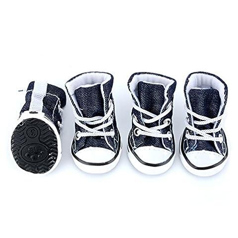 Smalllee _ Lucky _ Ranger Petit Chien Chaussures pour filles garçons Denim Toile à lacets Sneaker Chien Chaussons
