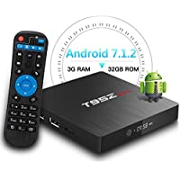 T95Z Max Android TV BOX, 2018 Newest 3GB RAM 32GB ROM Android 7.1.2 Octa Core 64 bits A53 Processor smart tv box, supports 4K Resolution 2.4GHz/5GHz Dual Band WiFi 1000 Ethernet Lan