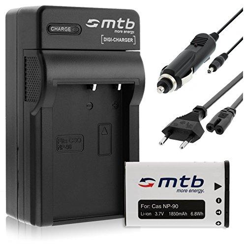 Batteria + Caricabatteria (Auto/Corrente) per Casio NP-90 / Exilim EX-FH100, H10, H15, H20G