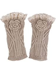 Guêtre en Crochet Tricot Bordure en Dentelle pour Femme