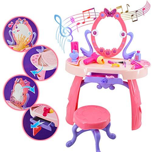 deAO Mesita Tocador Princesa Glamurosa con Espejo, Taburete y Accesorios Incluidos - Efectos de Luz y Sonido