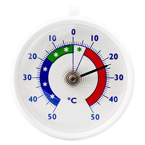 Lantelme Bimetall Analog Kühlschrank - Kühlraum - Kühltruhen Thermometer . Kunststoff mit Lasche Temperatur Anzeige -50 bis + 50 °C 2798