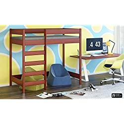 Hubi Loft litera cama frontal entrar envío gratis, madera, Palisander, 180x90x160