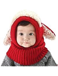 5cbc72230a0f Bonnet Chiot en Laine Snood bébé Cadeau Noël Cagoule Jaquard Polyester Tour  cou enfant Cache Cou Oreilles Chaud bébé Chapeau Tricot…